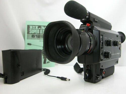 Working Professional ELMO Super 8 MOVIE CAMERA W/External Battery Pack & Inst