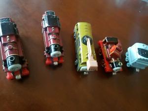 Metal Thomas the train trains.