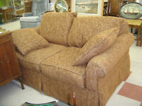 new arrival--plush love seat couch, matching chair, pillows