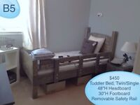 Solid Wood Single/Twin Toddler Transition Bed w/ Removable Rail