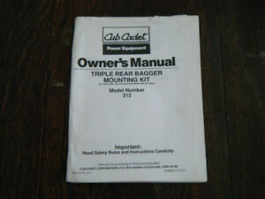 Cub Cadet Triple rear Bagger Mounting kit Owners manual