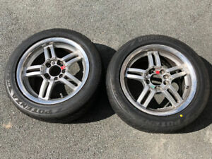"Two 15""x7"" Enkei Alloy Rims w/ Bridgestone RE71-R Tires"