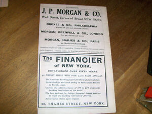 1916 FINANCIAL ADS-J.P. MORGAN & CO-THE FINANCIER-VINTAGE!
