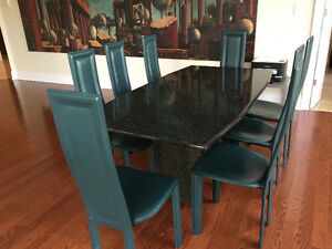 granit  dining room table 8 leather chairs