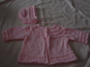 New Born Sweater and Bonnet- Pink