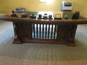 Early 20th Century Solid Oak 72 inch Leather Top Executive Desk Kingston Kingston Area image 1