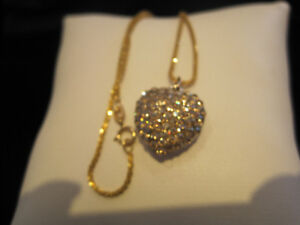 RICH YELLOW GOLD CHAIN WITH TREMENDOUS SPARKLE + HEART PENDANT