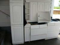 kitchen cupboards + big pantry  all white top and bottom all 275