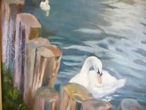 "Billie Appleton ""Swans At Pinecoft"" Original Oil Painting Stratford Kitchener Area image 6"