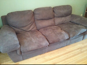 Wide, Comfy Brown Couch