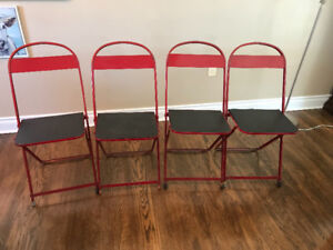 Mid-Century Metal Chairs, Folding -  Set of 4