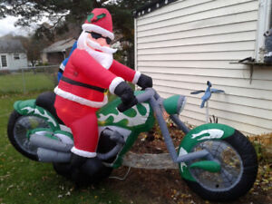 Air-blown Inflatable Santa on a Motorcycle - -  9' Long