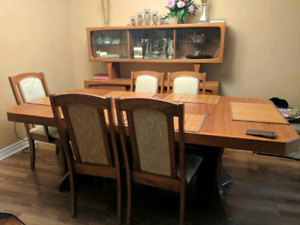 Solid Wood Dining Table and Buffet Showcase Set