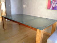High End Glass Table with Wood Legs