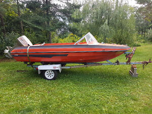 Boat Hull Trailer and Outboard