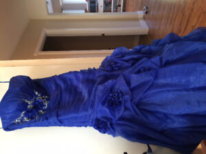 Mermaid style sapphire blue grad dress with lace up back