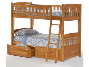Solid Wood Bunk Bed with Storage Drawers - Convertible