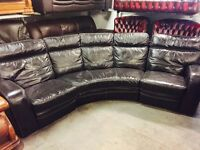As new black leather curved recliner sofa