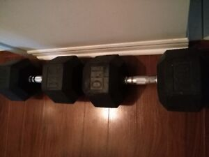 2 x 110 lbs RUBBER HEX DUMBBELLS (trade or sale)