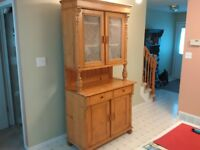 Antique Pine Cupboard with Hutch
