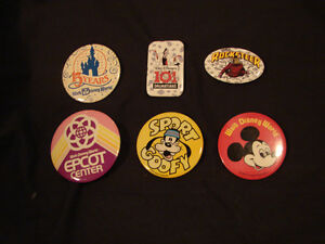 (6) vintage WALT DISNEY WORLD 1970's Mickey Mouse Pins