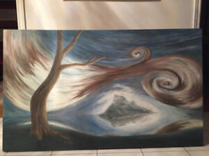 """LARGE Abstract Oil Painting: """"Twister"""" - 60"""" x 36"""" $Reduced$"""