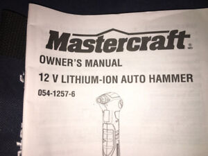 brand new mastercraft 12 V lithium ion auto hammer