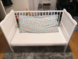 Baby cross cot bed-white with matress
