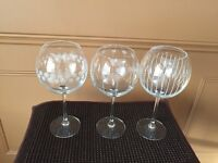 Etched Mikasa Cheers Balloon Wine Goblet, Set of 3-- Brand New