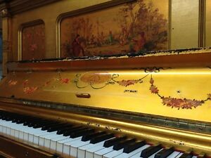 GOLD LEAVES UPRIGHT GRAND STEINWAY & SONS PIANO (1893)