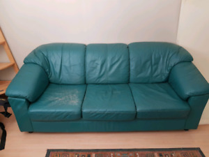 Green leather ikea couch