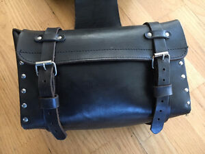 Vintage Black Leather Saddle Bags