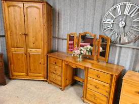 Stunning solid Sussex pine dressing table and double wardrobe