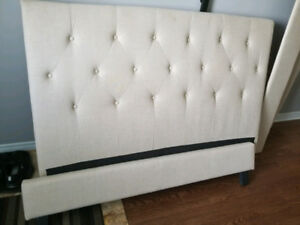 Beige Upholstered Queen Bed Frame, Great Condition