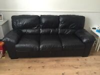 Black leather sofa three seater and two seater