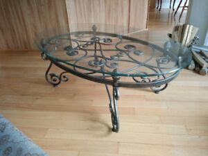Wrought Iron Glass Coffee Table