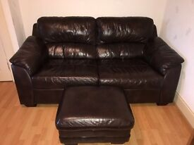 SCS Brown couch, chairs and pouffe