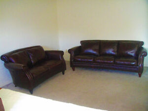 95% New Top Classic All Leather Sofa Set, Paid Over $7600, Can D