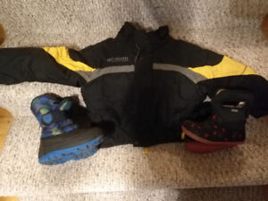$20 each Winter coat(columbia 4T) and boots (Bogs/Kamiks size10)