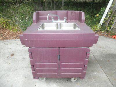 Cambro Ksc402 Portable Hand Wash Washing 2-bowl Sink Cart W Heater Restaurant