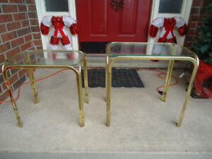 2 BRASS END TABLES - $15 FOR BOTH