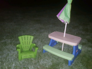 Little tykes picnic table.  Child's Adirondack chair.