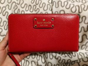 Authentic Kate Spade Wellesley Neda Pillbox Red Clutch Wallet