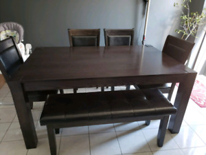 Solid Wood Dining Room Table and chairs/bench