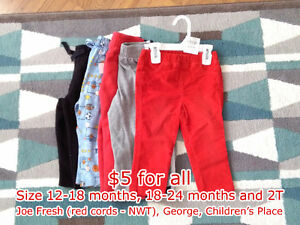 Baby Play Pants - Fleece & Cords - 12-18 & 18-24 Months