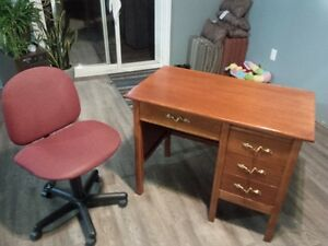 Solid Wood Secretary's Desk and Chair