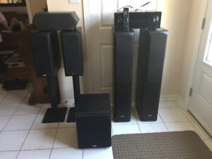 speakers-QUEST SURROUND SOUND WITH RECEIVER MINT CONDITION $600.