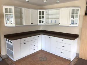 White and grey polymer kitchen display
