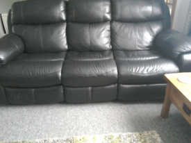 Soft leather black 3 seater sofa manual recliner and chair