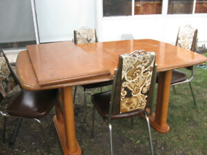 Solid wood table with four chairs